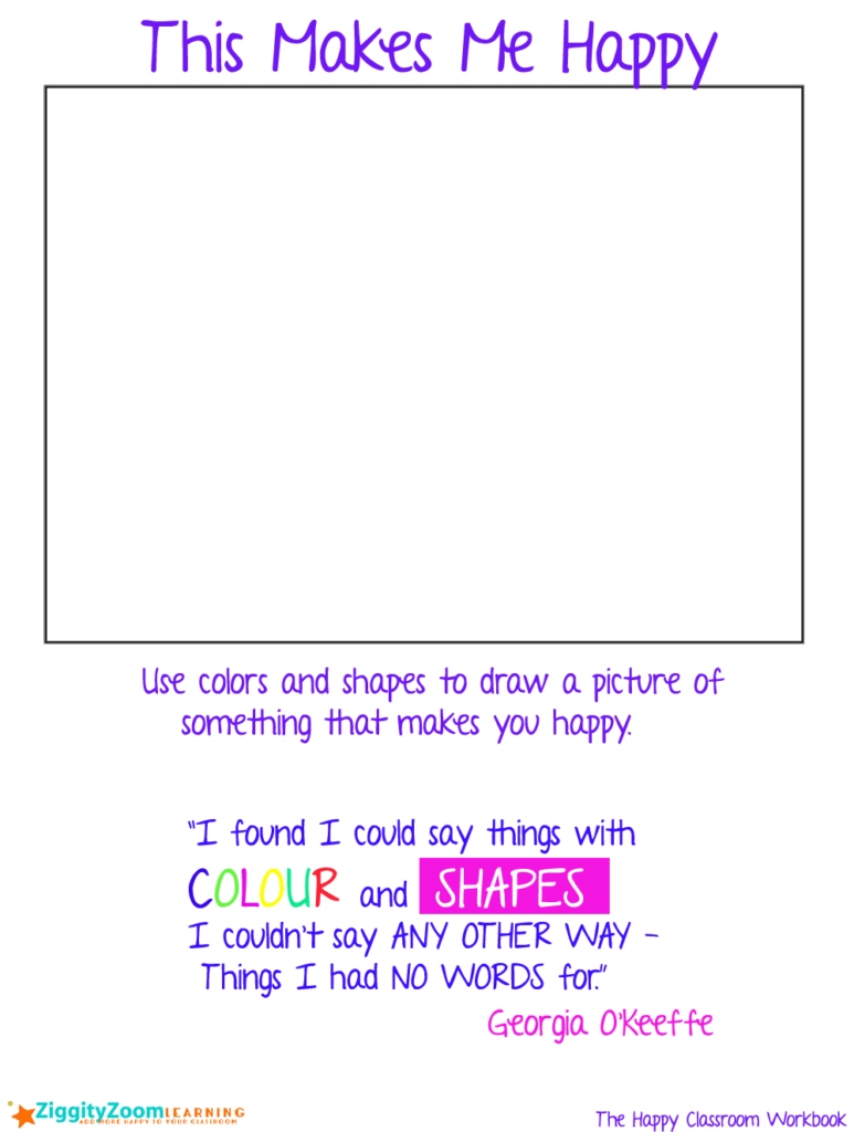 Color shapes worksheet - Happy Drawing Writing Prompt Colors And Shapes Creativity Worksheet For Kindergarten 1st Grade