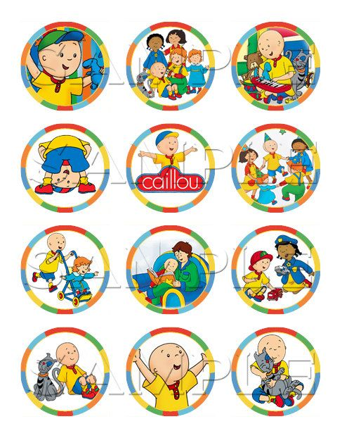 Caillou Edible Cupcake Toppers Edible cupcake toppers Caillou and