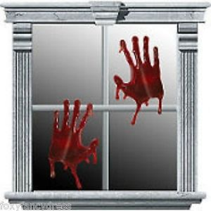 bloody gel hands horror halloween window clings decoration ebay - Window Clings Halloween