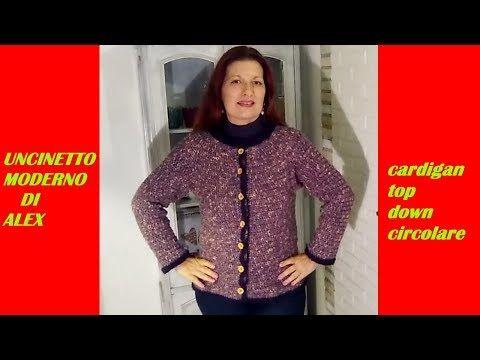 Cardigan Uncinetto Top Down Circolare Tutorial Ogni Taglia E Misura
