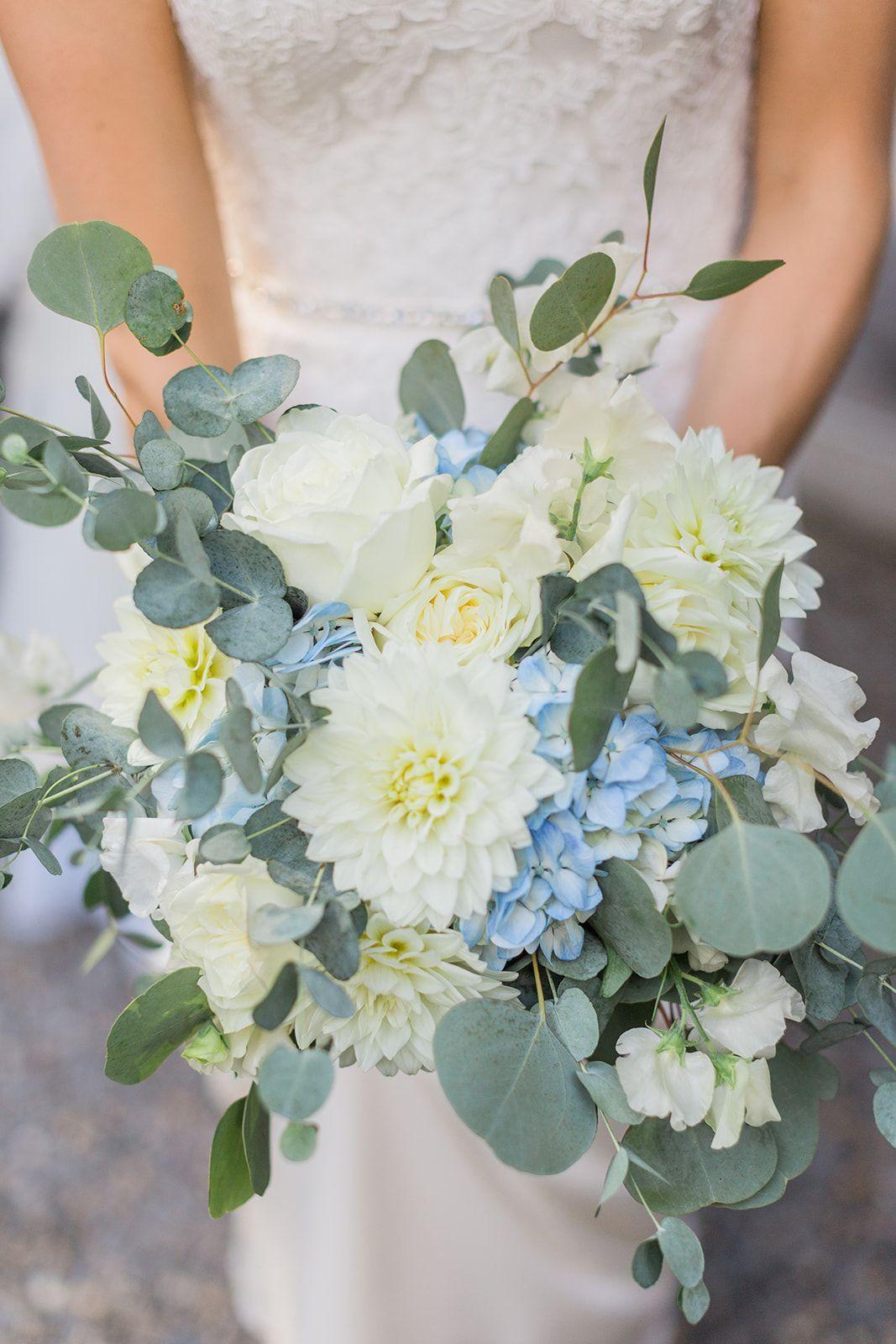 White Flower Bouquet 50 Wedding Flowers Blue Wedding Bouquet Blue Wedding Flowers Hydrangea Bouquet Wedding