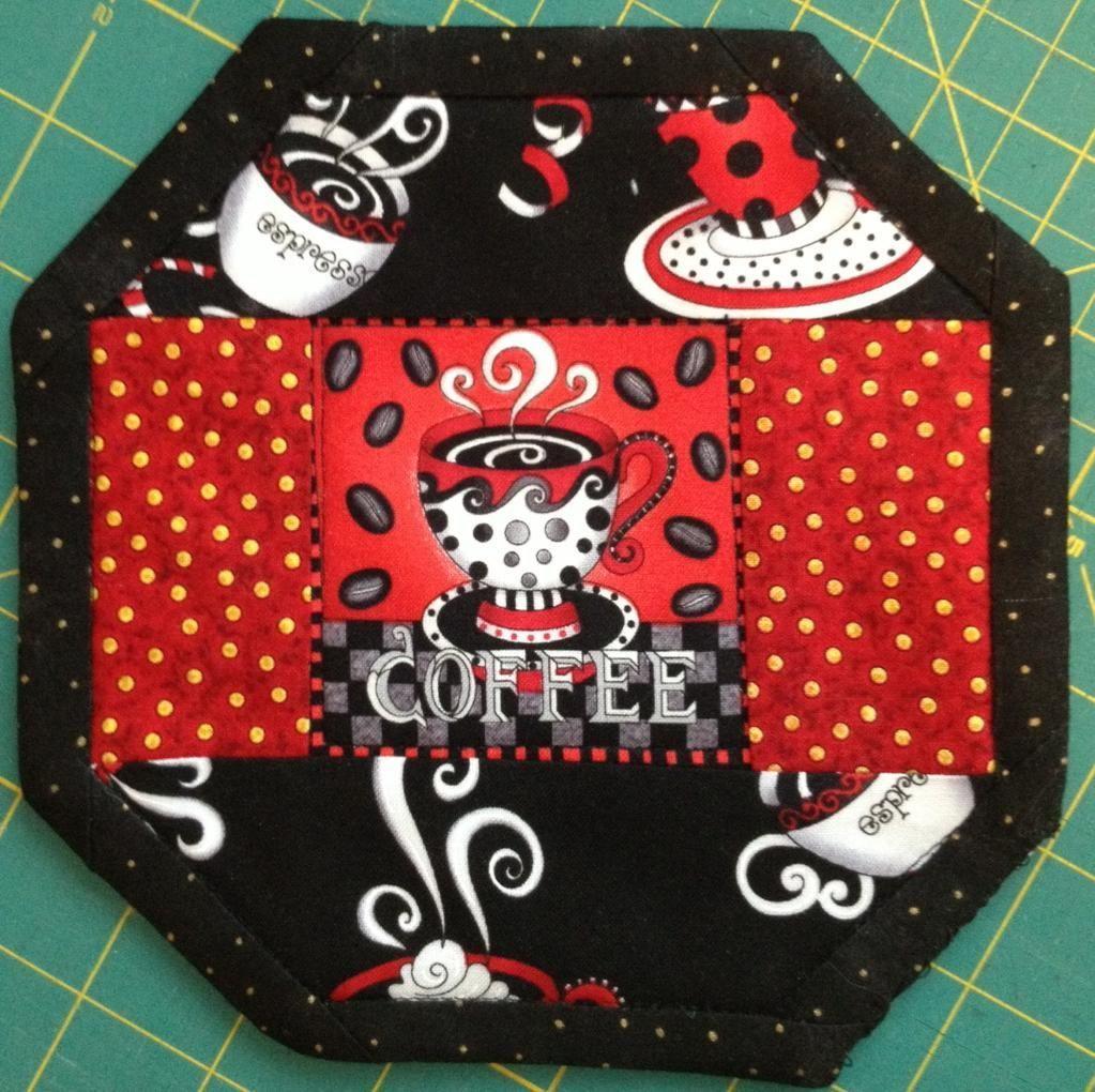 - Coffee themed mug rug