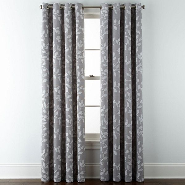 Jcpenney Home Quinn Leaf Grommet Top Curtain Panel Tab