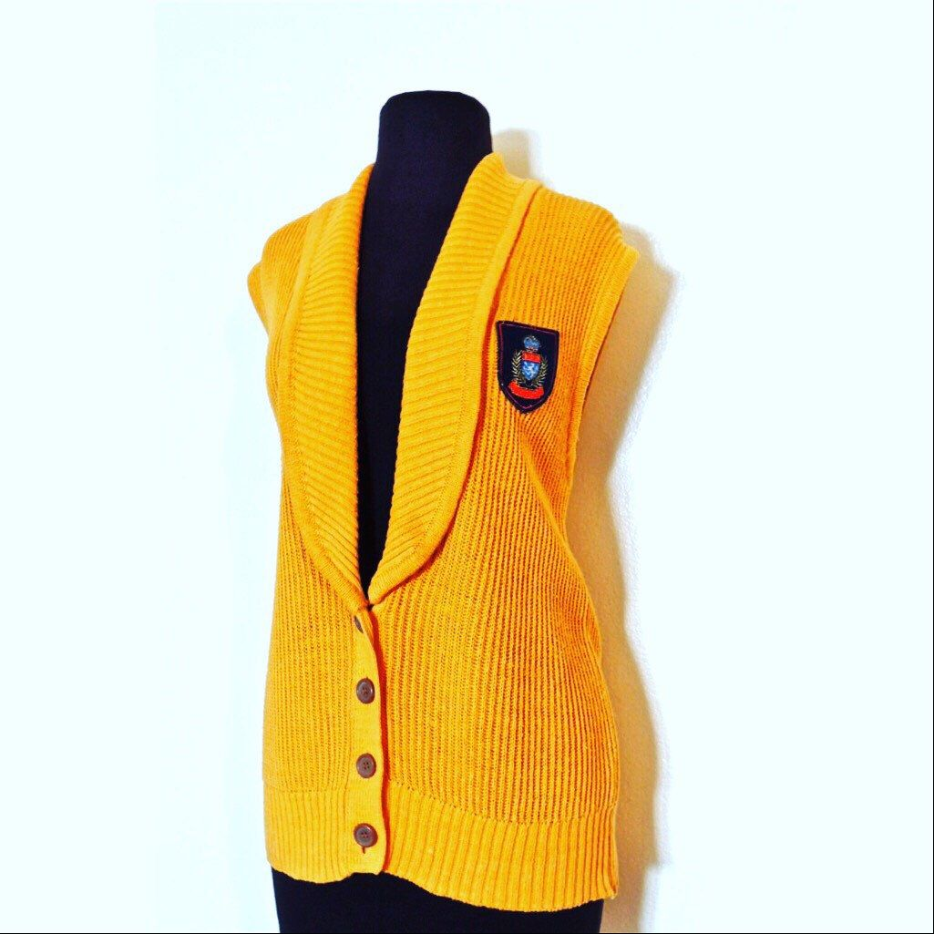 Vintage 1960s-70s yellow-gold knit sweater vest w/ coat of arms ...