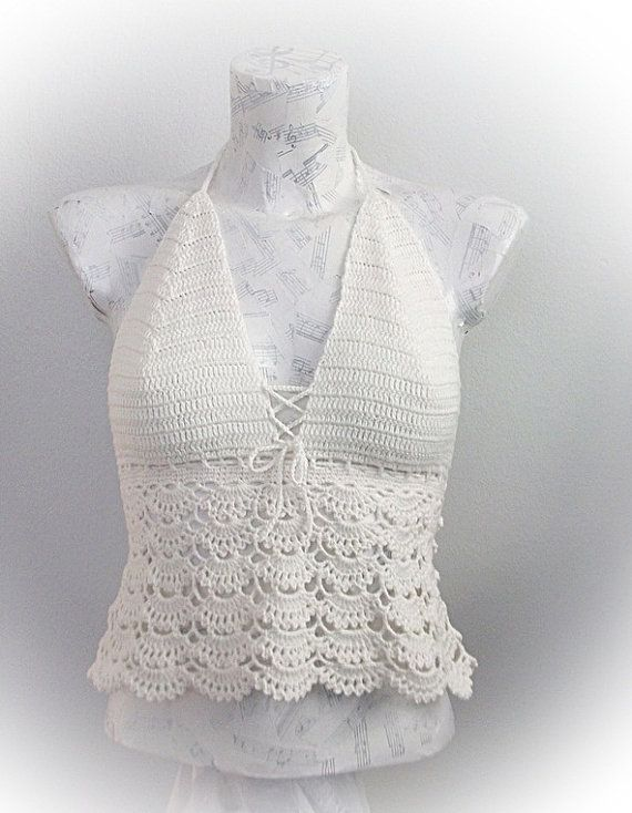 Cream Crochet tank top - Summer-Crochet Hippie Fringe Halter Top ...