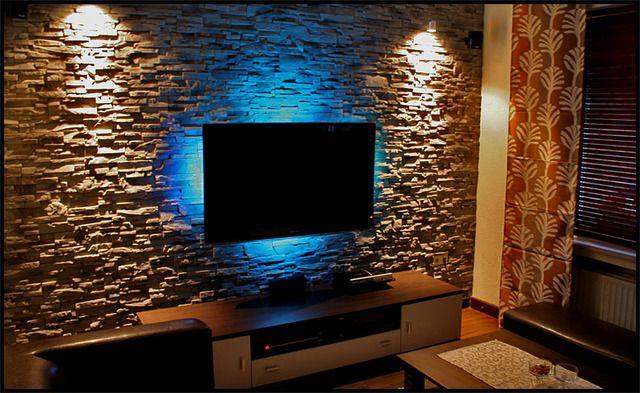 Steinwande Wohnzimmer Pinterest Wand, TVs and Space saving