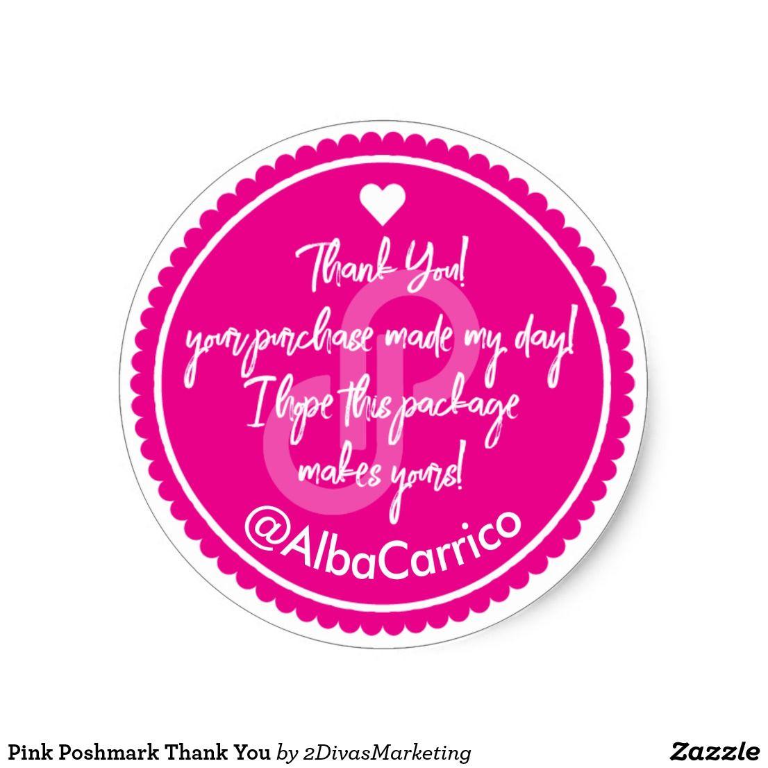 Pink poshmark thank you classic round sticker