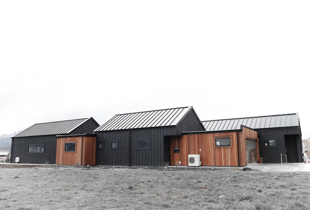 Cedar and Black Cladding House Exterior Alpine Tray Roof Eco Home ...