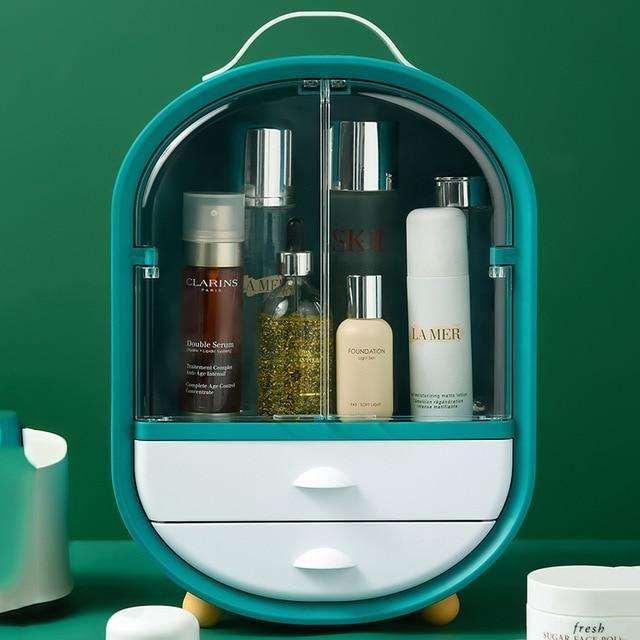 360 drehbarer Schmuck Organizer Kosmetik Aufbewahrungsbox Transparent Make-up Organizer Ohrring Halskette Desktop Organizer Dropshipping – SKMGreen