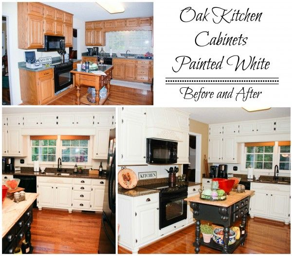 Diy Paint Kitchen Cabinets White: Painted White Oak Cabinets, Before And After, Featured On