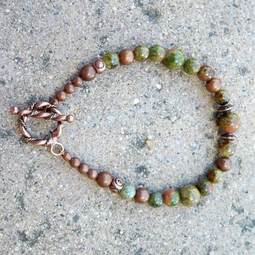 Unakite, green garnet and copper bracelet