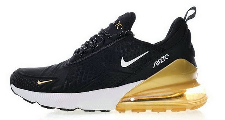 super popular 3a11d e21c6 Moda Nike Air Max 270 Deep Nero Bianca Gold AH8060 010 In Vendita