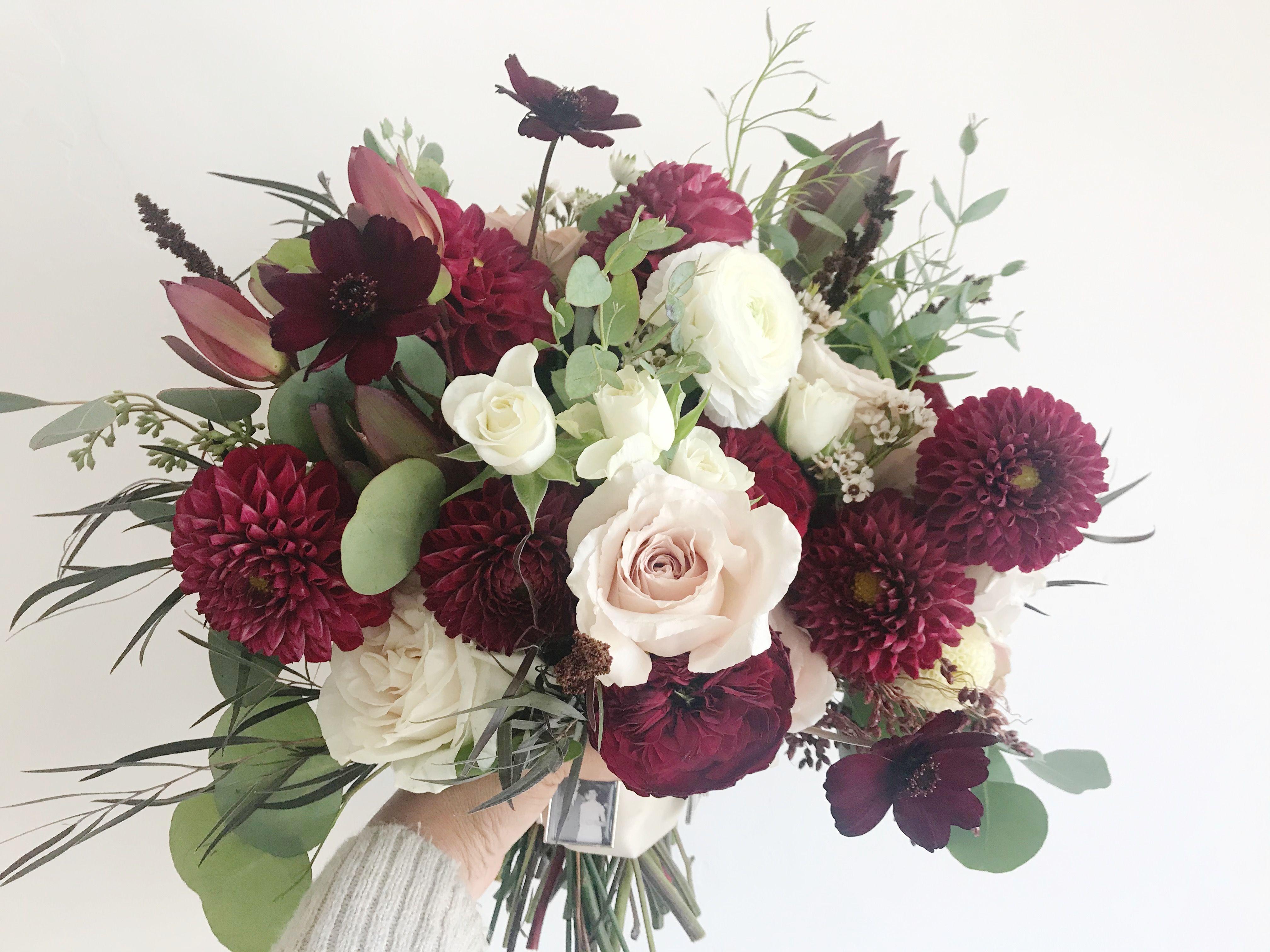 Rose Dahlia Chocolate Cosmos Ranunculus And Many Other Seasonal Bloom Romantic Bouque Beautiful Wedding Flowers Dahlia Wedding Bouquets Diy Wedding Flowers