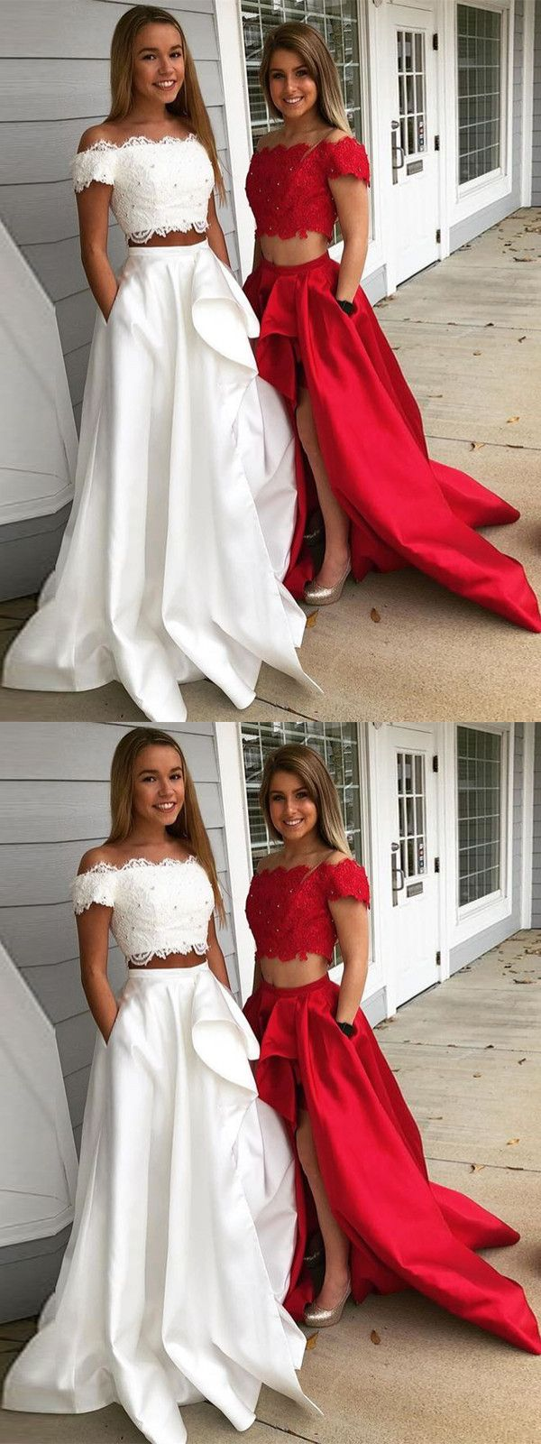 Two piece red prom dress cheap long lace prom dress vb demi
