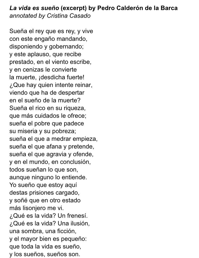 Poema La Vida Es Sueño Pedro Calderón De La Barca Poesias De La Vida Versos De La Vida Poemas De La Vida