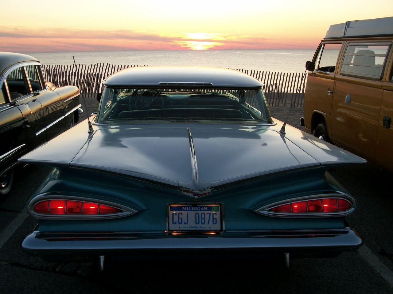 Great old ride...great sunset. #vintagecars #sunsets #classiccars ...
