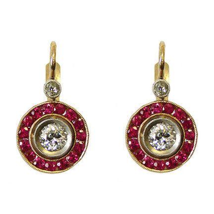 Vintage Art Deco Style 18 Karat Rose Gold Diamond and Ruby Earrings