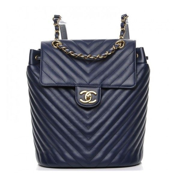 2bd60b1d2d9b CHANEL Calfskin Chevron Quilted Small Urban Spirit Backpack Navy ❤ liked on  Polyvore featuring bags, navy backpack, navy blue backpack, navy bag, ...