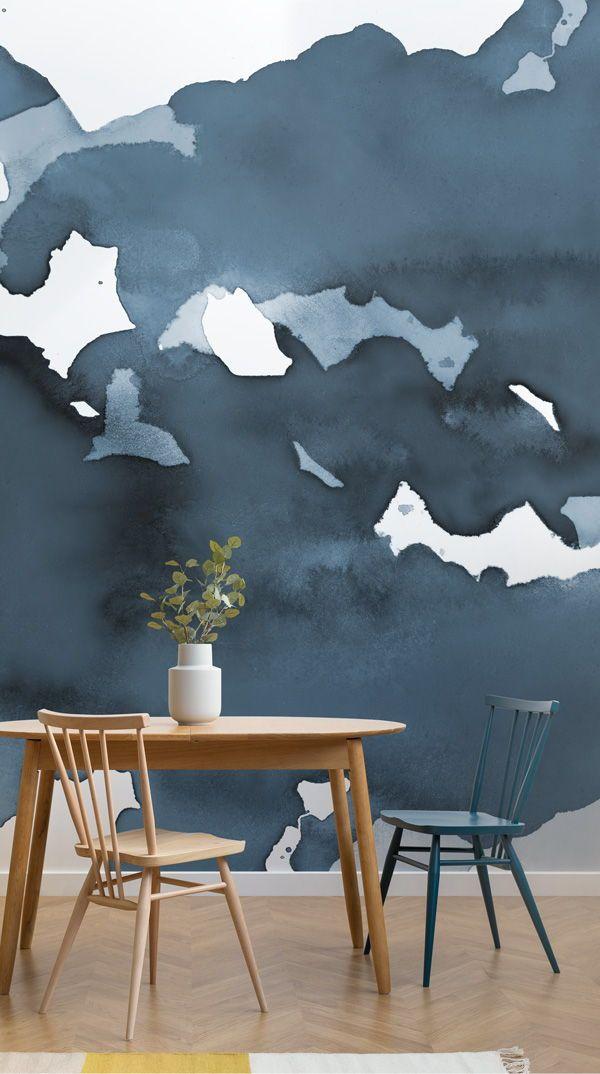 Mirage Deep Blue Watercolour Wall Mural