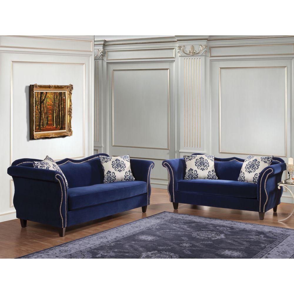 Furniture of America Othello 2Piece Royal Blue Sofa Set