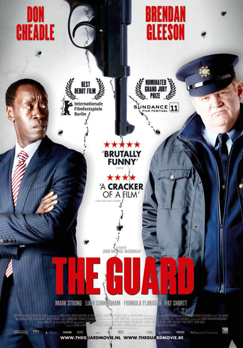 The Guard , starring Brendan Gleeson, Don Cheadle, Mark Strong, Ronan Collins. An unorthodox Irish policeman with a confrontational personality is teamed up with an uptight FBI agent to investigate an international drug-smuggling ring. #Comedy #Crime #Thriller