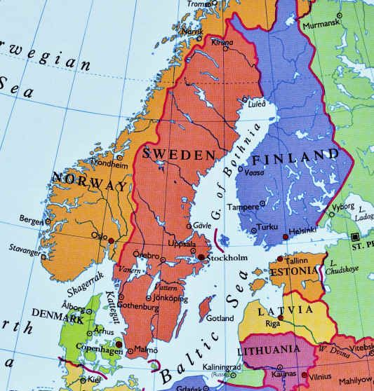 Northern Countries Are Norway Sweden Denmark Island And Finland - Sweden map search