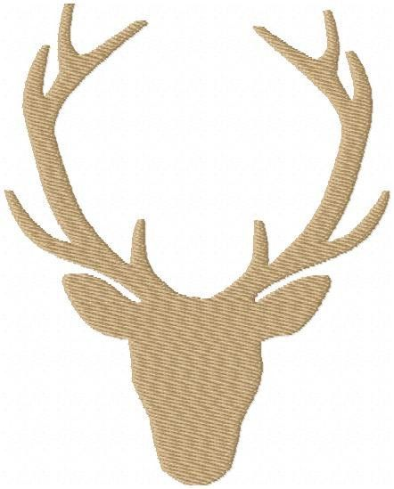Deer Head Silhouette with Antlers - Comes in Fill Stitch and ...