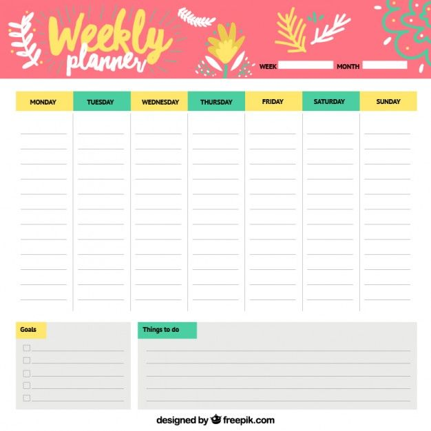 Cheerful weekly schedule Free Vector PlanningPlus Pinterest - sample weekly agenda
