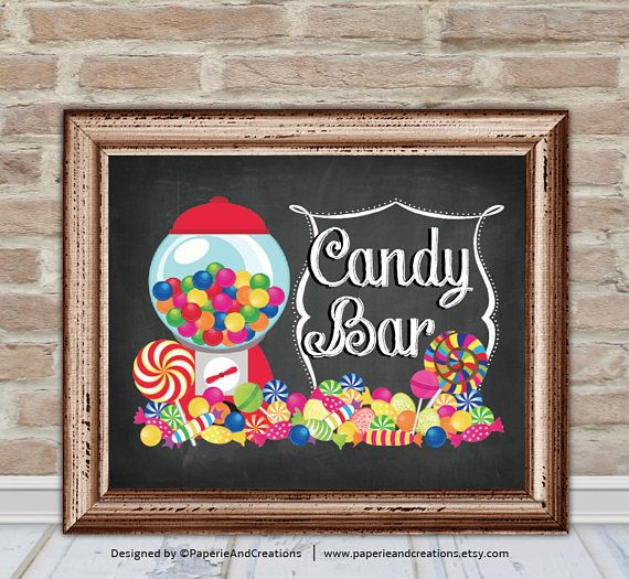 Bar Signs And Decorations Candy Bar Sign Party Signs Printable Instant Download  Signs