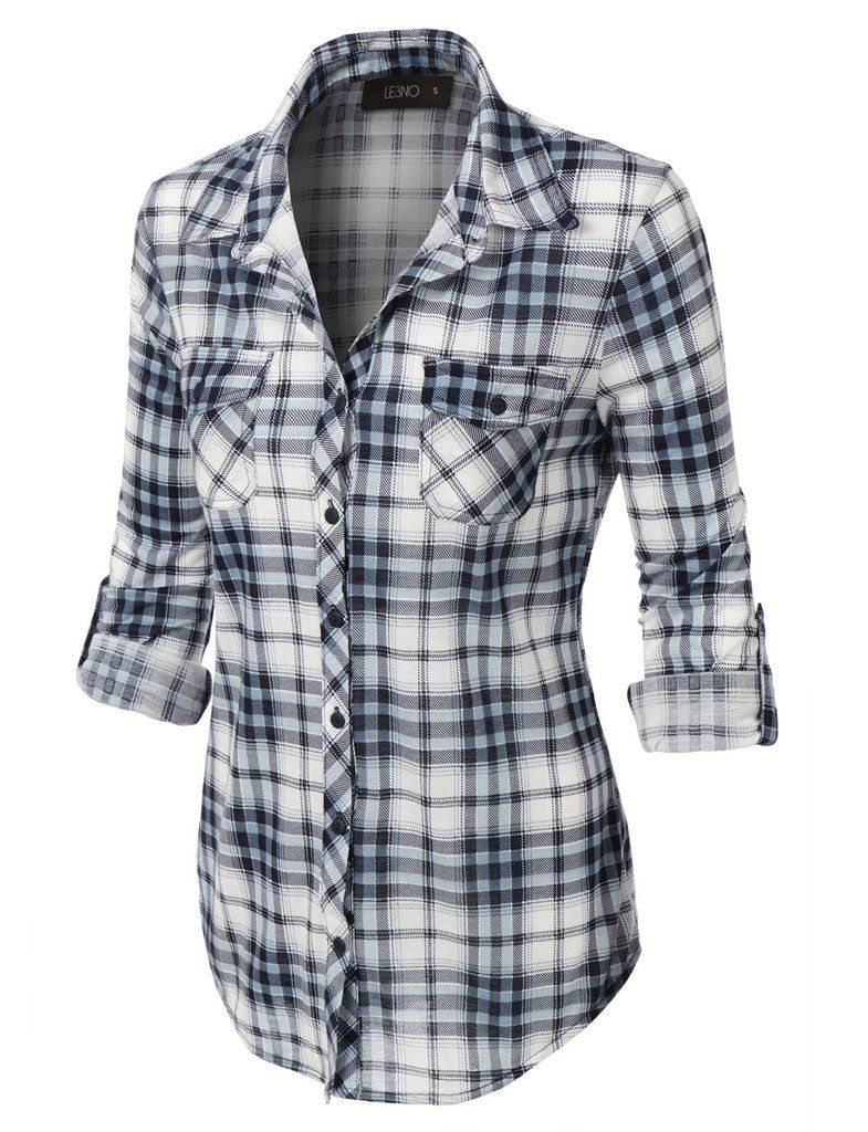 f2099a05 LE3NO Womens Lightweight Plaid Button Down Shirt with Roll Up Sleeves
