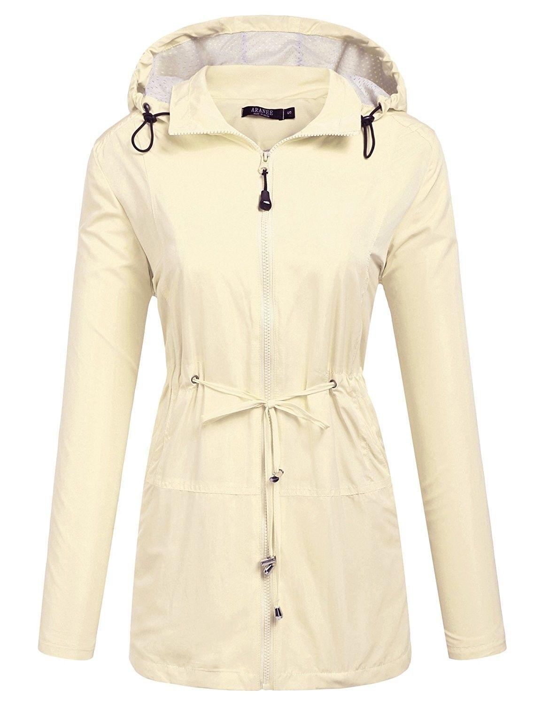 a83c1f311 Women's Clothing, Coats, Jackets & Vests, Trench, Rain & Anoraks, Anoraks, Womens  Waterproof Lightweight Hooded Active Outdoor Rain Jacket - Ivory White ...