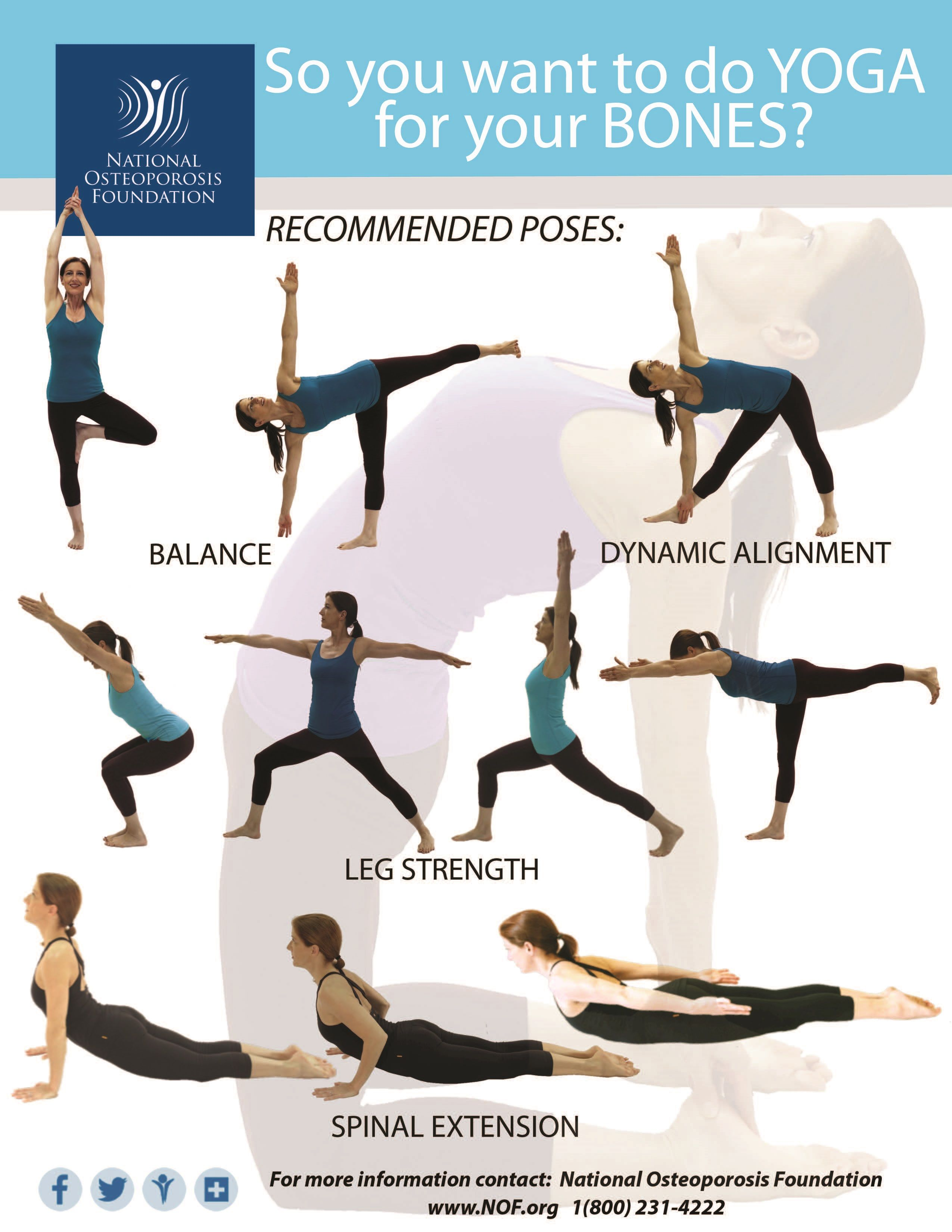 The National Osteoporosis Foundation Wants To Keep You Moving Even With Osteoporosis With Safe Yoga Yoga Postures Best Yoga How To Do Yoga