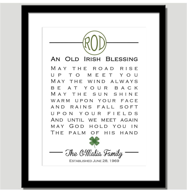 Monogram Irish Blessing Personalized
