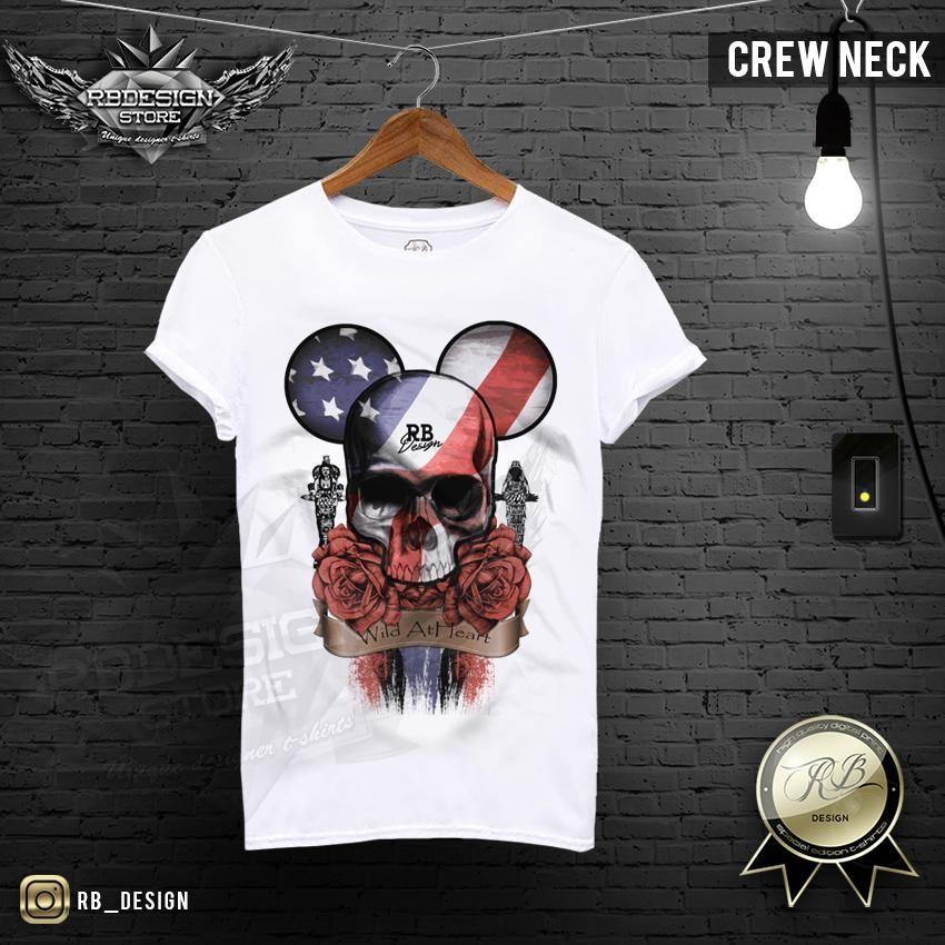 Rb Design Mickey Skull Mens T Shirt Roses Usa Flag Tank Top Md321 Ropa