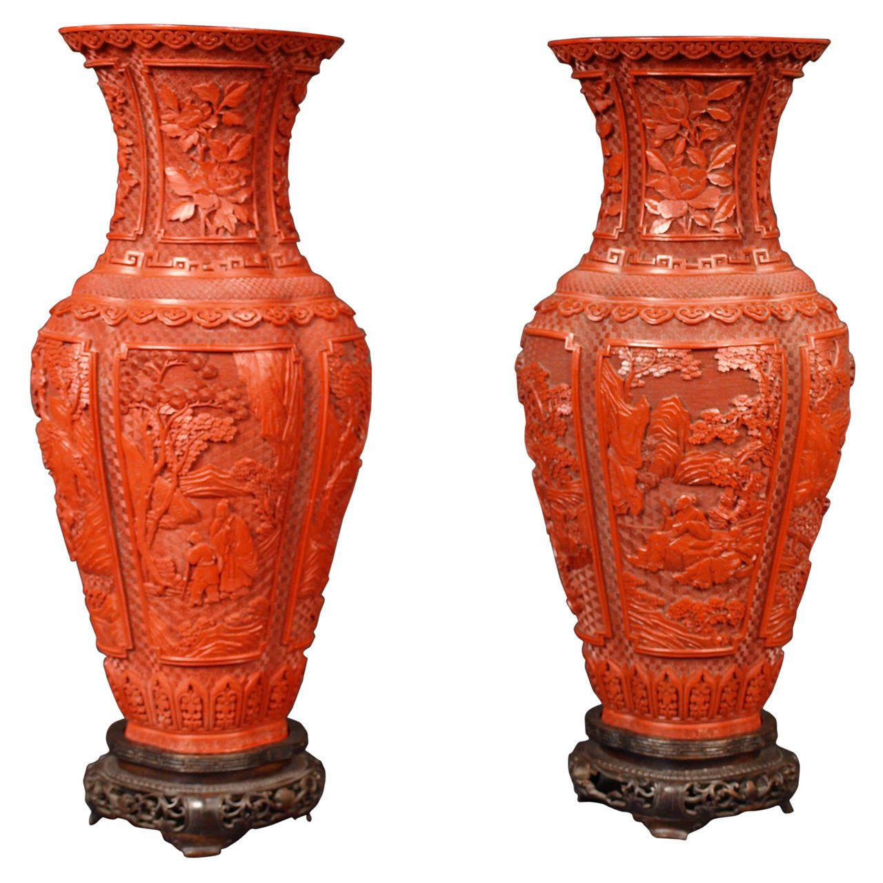 Pair Of Cinnabar Lacquer Baluster Vases China Qing Dynasty 19th Century From A Unique Collection Of Antique And Mod China Patterns Asian Art Art Furniture