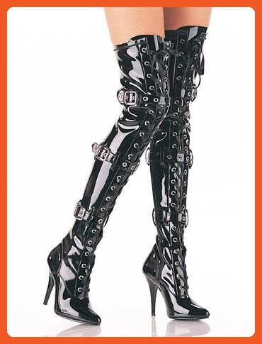 9ad8938b196f9 Black Ribbon Lace Up Buckle Thigh High Boot - 7 - Boots for women ...