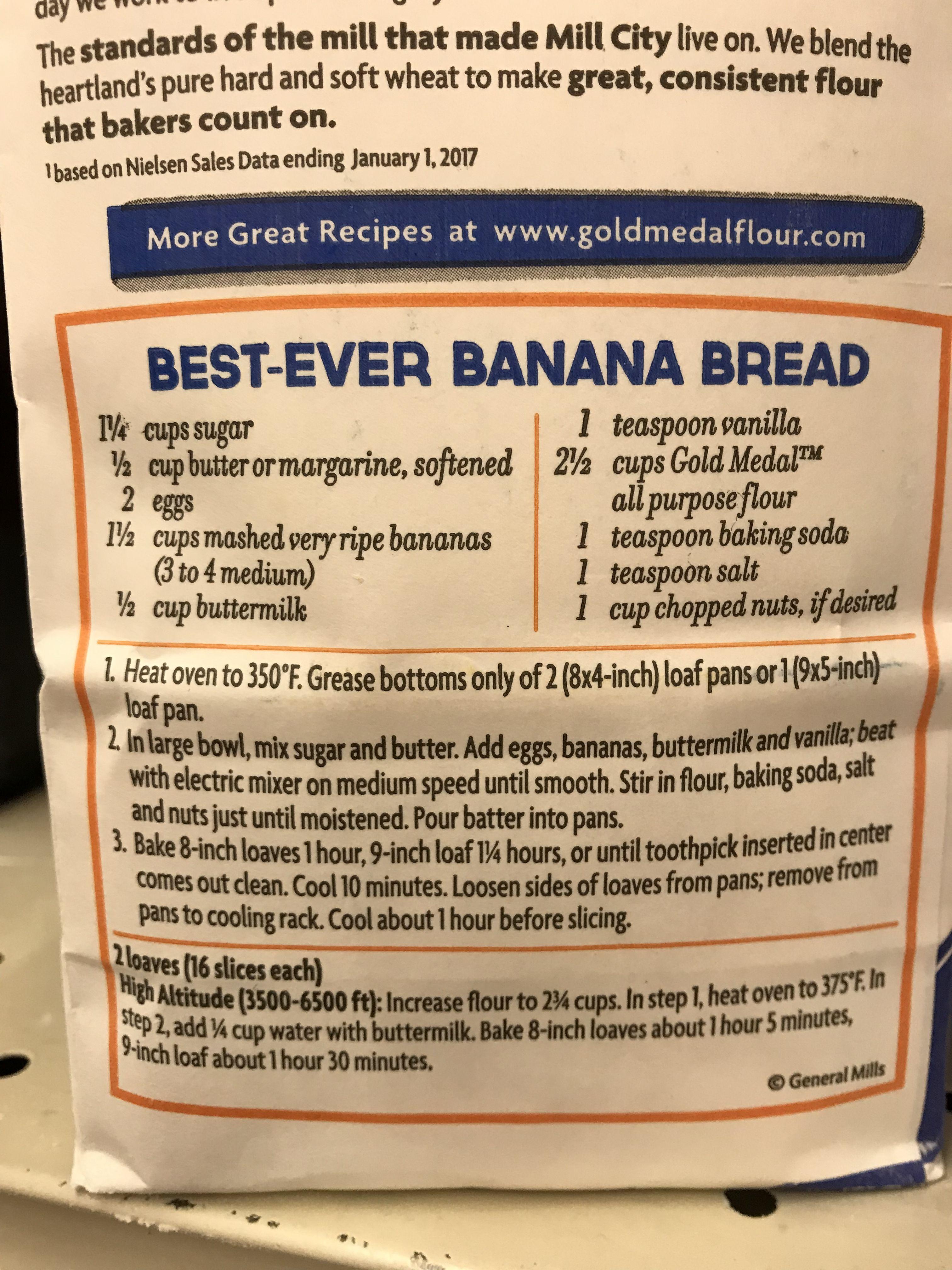 Gold Medal Flour S Best Ever Banana Bread Bread Packaging Flours Banana Bread Gold Medal Banana Bread Recipe