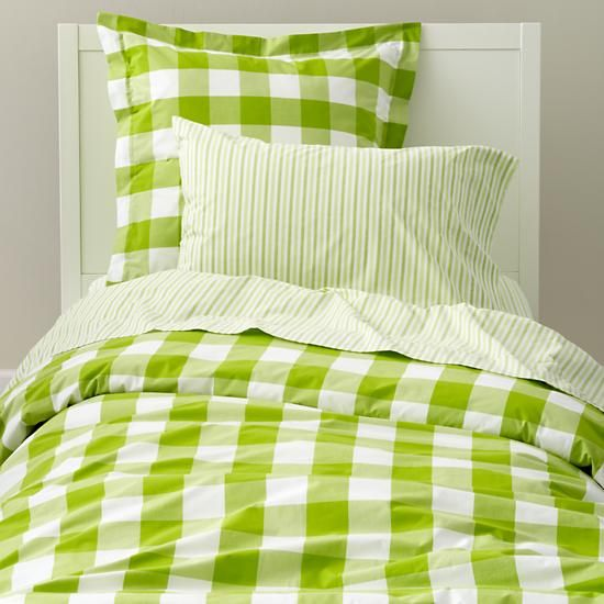 The Land Of Nod Kids Bedding Green Gingham Duvet Cover In Duvet Covers Green Duvet Covers Green Rooms Duvet Covers