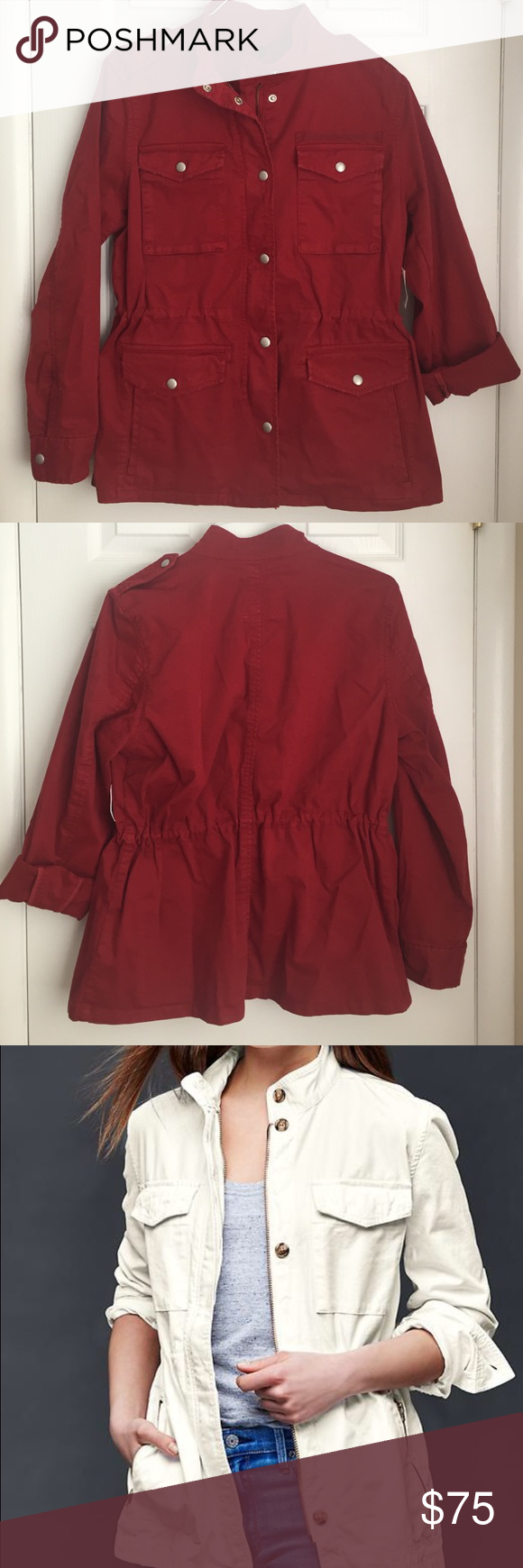 Gap utility jacket NWT red GAP utility jacket. 4 button front pockets and two additional side pockets. Rollin sleeves. Sold out online and in stores. Gap Jackets & Coats Utility Jackets