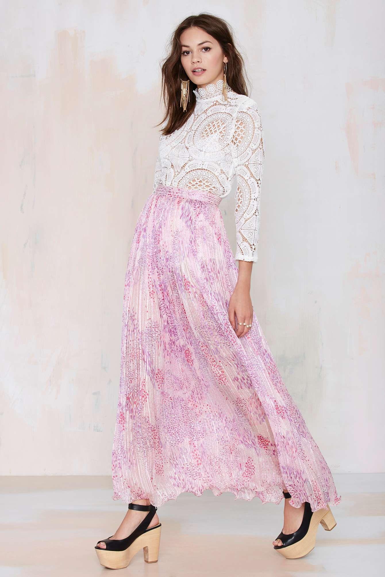Vintage It\'s All a Fleur Chiffon Maxi Skirt   STYLE.   Pinterest   Ropa