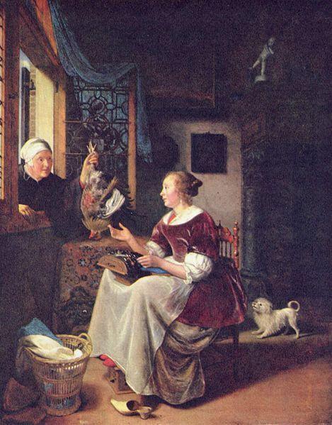 """ A young Lacemaker""  -by Pieter Cornelisz van Slingelandt 1672-1673 Location Gemäldegalerie Alte Meister -Dresden, Germany"