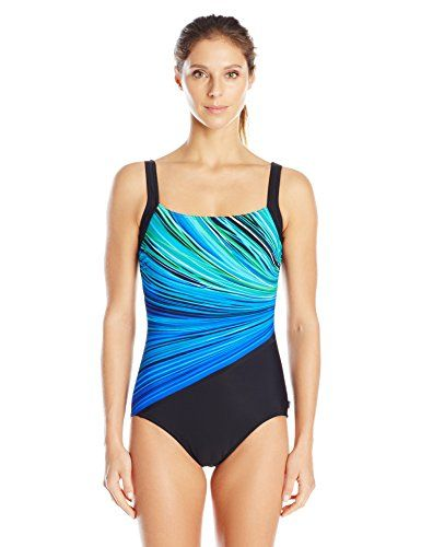 efd7b2abb0abf Reebok Womens Fire and Water Constructed OnePiece SwimsuitBlue18 * For more  information, visit image link.(This is an Amazon affiliate link)