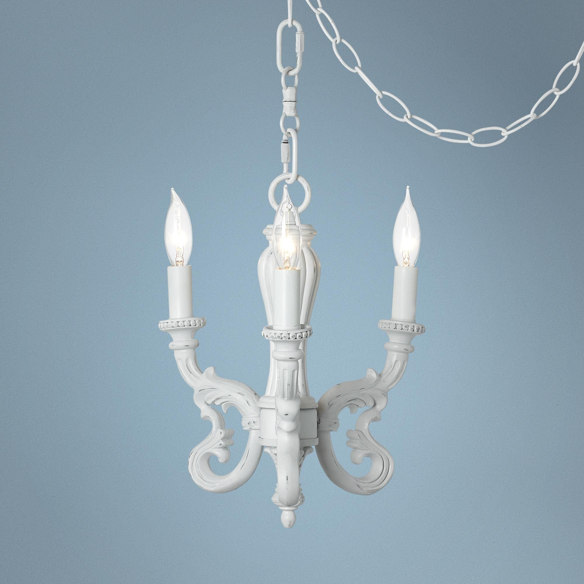 "Roco Rubbed White 10"" Wide Swag Mini Chandelier This plug in style"