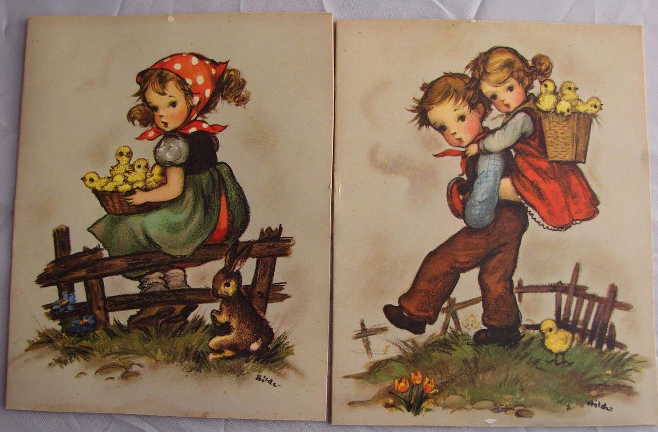 2 vintage easter cards western germany beautful color