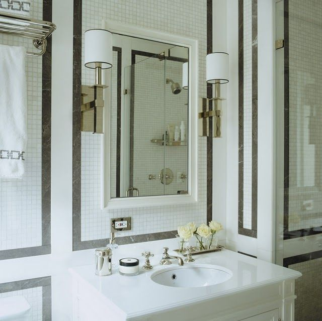 Classic Elegant Bathroom Flowers Roses Pearls: Bathroom, Retro, Gray, White, Nickel, Tile, Classic, Sleek