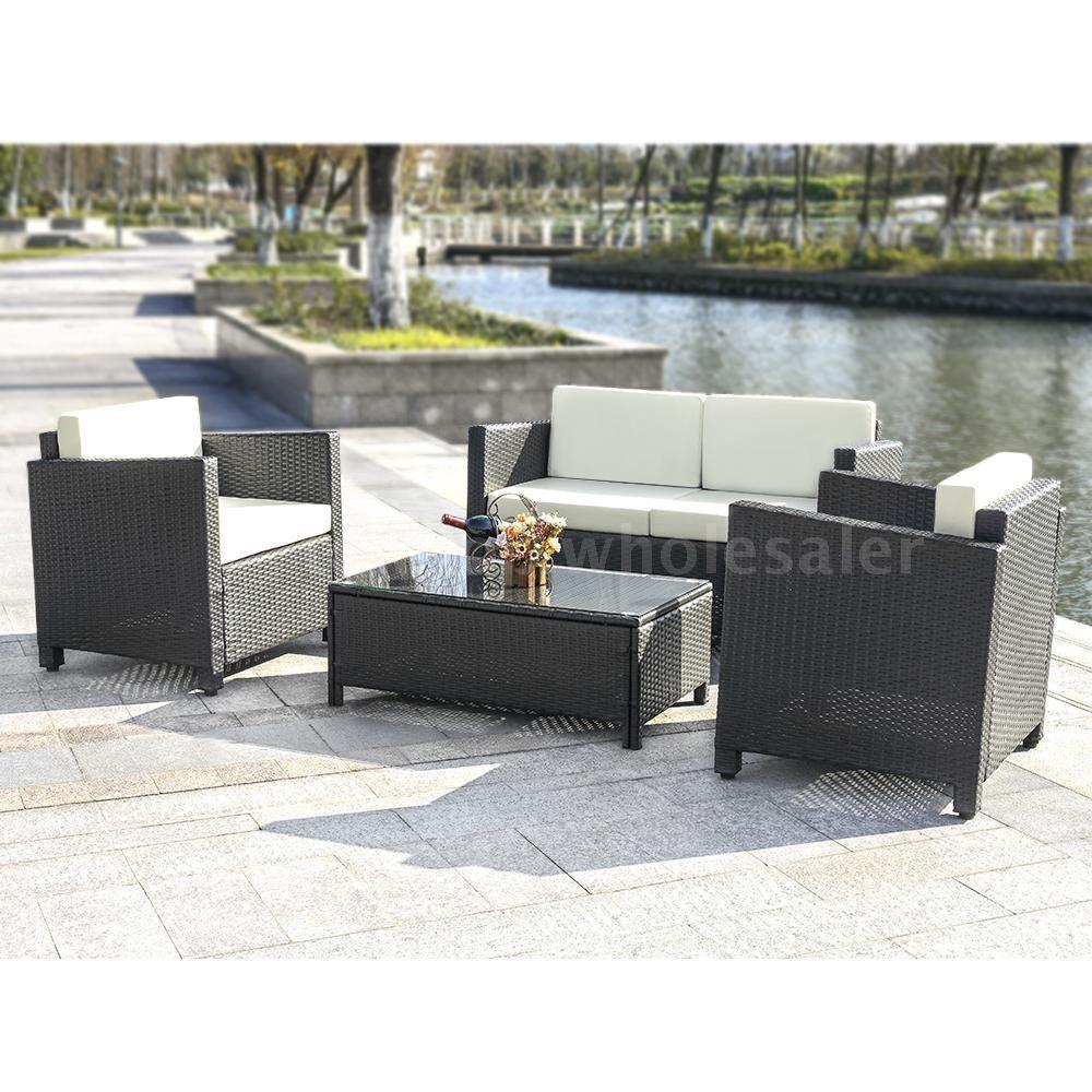 iKayaa 4PCS Cushioned Rattan Outdoor Patio Sofa Couch Set