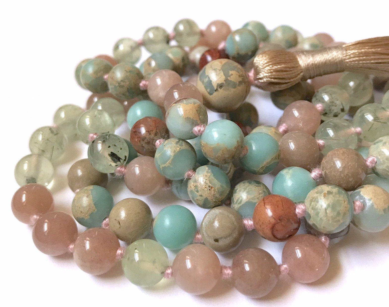 African Opal Aura Terra Jasper Mala Necklace Prehnite 108 Mala Beads Meditation MalaYoga Jewelry