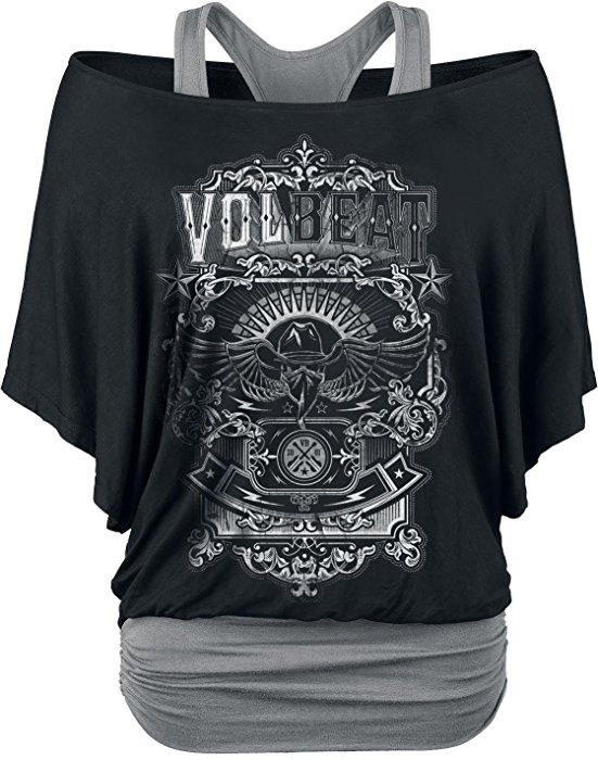 Volbeat Old Letters Girl-Shirt schwarz/grau XL