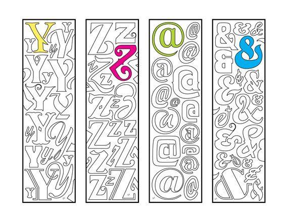Y Z Monogram Alphabet Letter And Symbol Bookmarks Etsy Lettering Alphabet Coloring Pages Monogram Alphabet