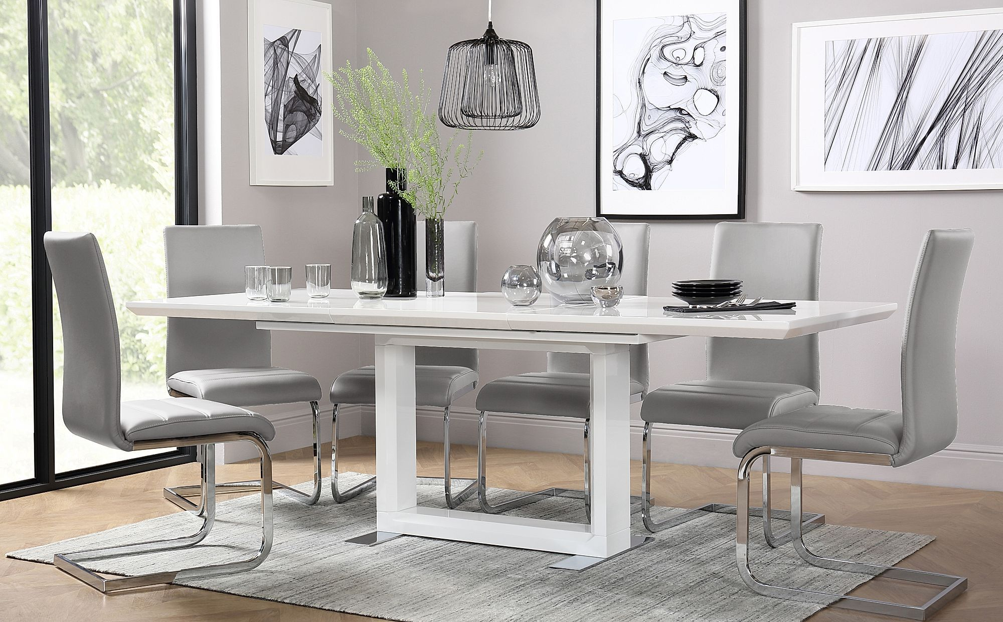 Tokyo White High Gloss Extending Dining Table With 6 Perth Light Grey Leather Chairs Round Extendable Dining Table Extendable Dining Table Dining Table